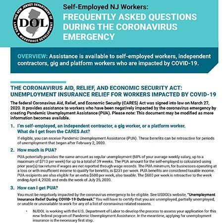 Self-Employed NJ Workers: Unemployment Benefits During the Coronavirus Emergency